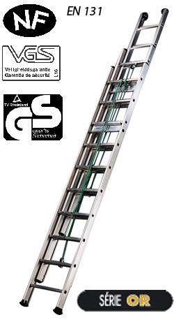 echelle coulisse corde 3 plans grande hauteur tubesca. Black Bedroom Furniture Sets. Home Design Ideas