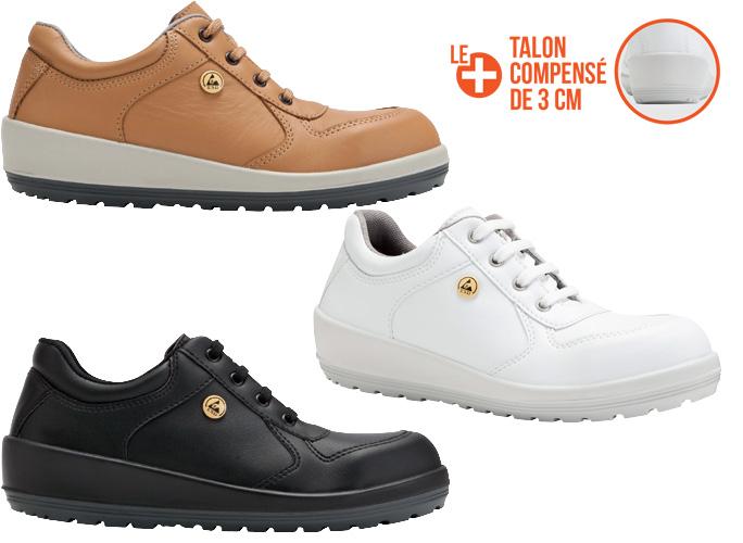 nouvelle collection 3a612 3f06c Chaussures de sécurité femme Braga Noir, Blanche et Miel S3 ESD
