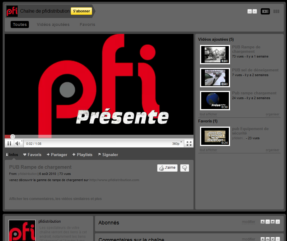 PFi sur Youtube